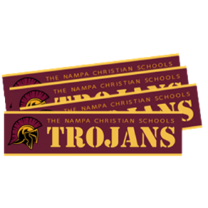 20-21 Bumper Stickers Nampa Christian Trojan Pro Shop